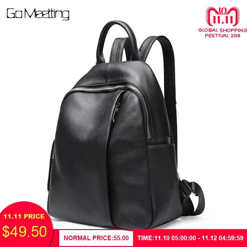 купить Go Meetting Women Backpacks Fashion Genuine Leather Backpack for Girl Daypack Female School Bag mochila escolar bagpack Knapsack по цене 3131.99 рублей