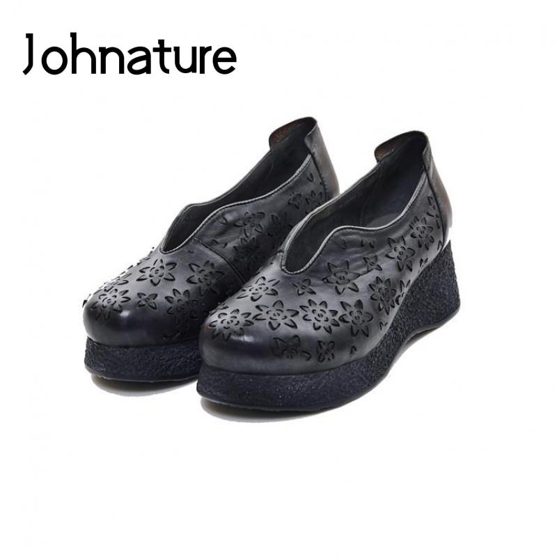 Johnature 2019 새로운 봄/가을 수제 정품 가죽 웨지 라운드 발가락 레트로 캐주얼 슬립 온 플랫폼 여성 신발 펌프-에서여성용 펌프부터 신발 의  그룹 1