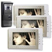 DIYSECUR 700TVLine HD Video Door Phone Doorbell 7 inch Video Intercom Door Camera Home Entry Intercom 1 Camera 3 Monitor