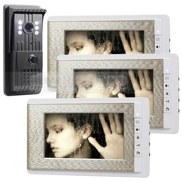 DIYSECUR 700TVLine HD Video Door Phone Doorbell 7 inch Video Intercom Door Camera Home Entry Intercom 1 Camera 3 Monitor