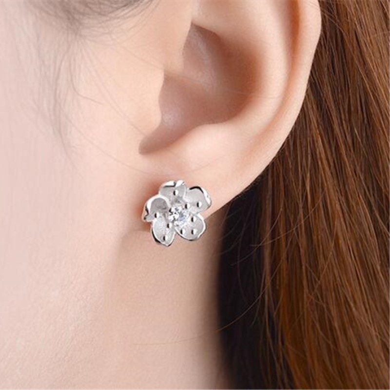 Creative Fashion Temperament 925 Sterling Silver Jewelry Sakura Simple White  Crystal Small Fresh Flowers Stud Earrings SE422-in Stud Earrings from  Jewelry ... 5125f92ce10