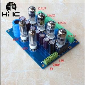 Image 3 - Oliwkowe wzmacniacze lampowe HiFi karta audio Amplificador przedwzmacniacz mikser audio 6Z4*2 + 12AU7*2 + 12AX7*2 przedwzmacniacz zaworu bufor żółciowy