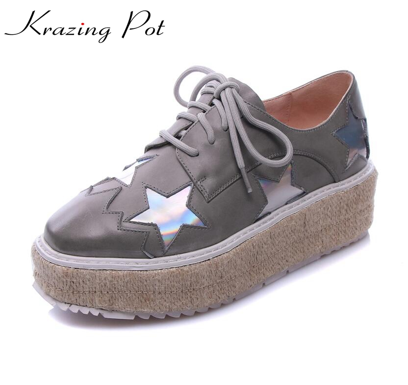 Fashion superstar brand shoes star increased platform flats square toe genuine leather elegant lace up woman casual shoes L29 qmn women genuine leather platform flats women lace cut glossy leather square toe brogue shoes woman lace up leisure shoes 34 39