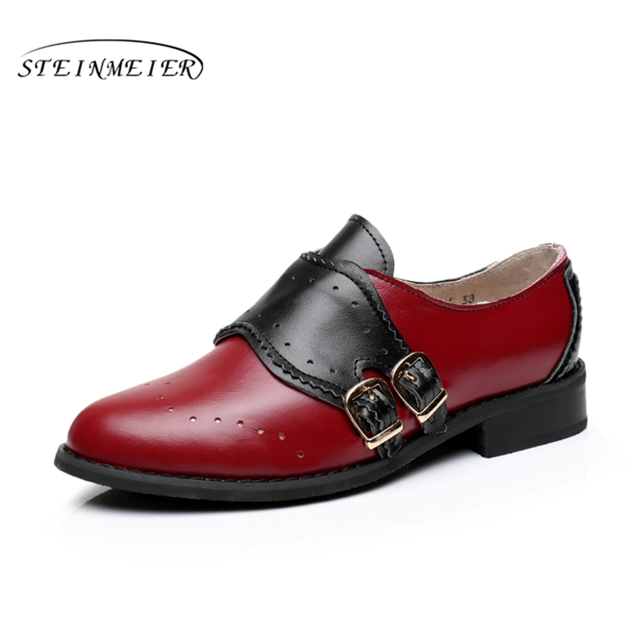 Cow leather big woman US size 10 designer vintage flats shoes round toe handmade red black oxford shoes for women with fur woman genuine leather us 11 designer vintage flats oxford shoes round toe handmade lace up black white oxford shoes for women