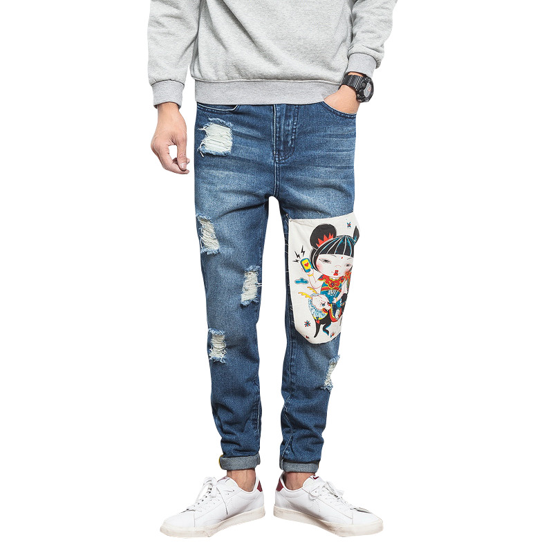 2017 Ripped Straight Slim Jeans Men Stretch Hole Jeans Cool Jeane Homme Trousers Casual Pants Elastic Male Long Pants Men 2017 new 3d metal puzzle star craft terran colorful battle cruise assembly model jigsaw children s toys kids best gifts
