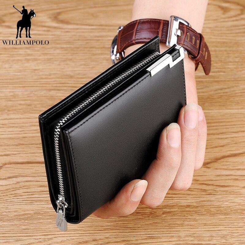 WILLIAMPOLO Men Short Wallet Casual Genuine Leather Male Wallet Purse Standard Card Holders High Quality Wallets PL218 недорго, оригинальная цена