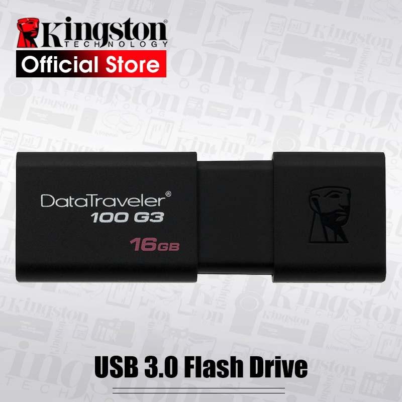 Kingston – clé USB 128 DT100G3, support à mémoire de 16GB 32GB 64GB 3.0 GB, lecteur Flash haute vitesse
