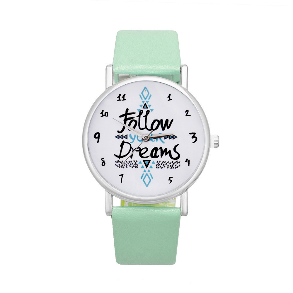 Women Follow Dreams Words Pattern Leather Watch Luxury Elegant Sale Mint Green Girls Bracelet Stainless Steel Quartz Clock A70