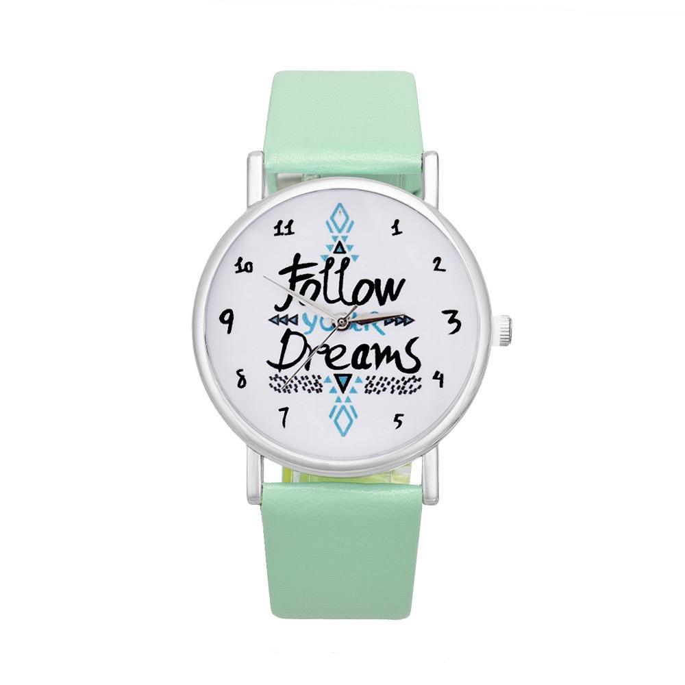 Women Follow Dreams Words Pattern Leather Watch Luxury Elegant Sale Mint Green Girls Bracelet Stainless Steel Quartz Clock A70