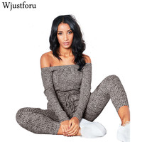 Wjustforu Sexy Off Shoulder Jumpsuits Women Long Sleeve Casual Rompers Knitted Hole Jumpsuit Female Elastic Waist