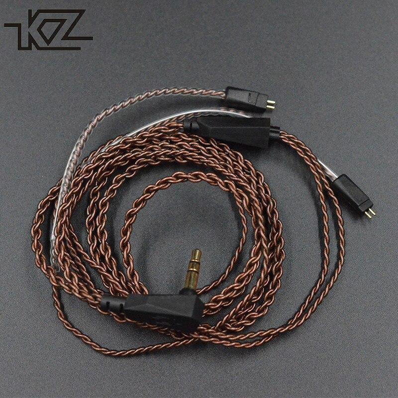 D'origine KZ écouteurs câble amélioré fil pour ZS3 ZS4 ZS5 ZS6 2 pin 0.75mm écouteurs câbles pour ZS10 ZS12 ZST ED12 ES3 ZSR intra-auriculaires