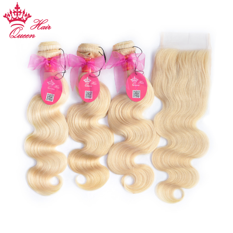 #613 Blonde Body Wave Brazilian Human Hair Weave Bundles with Closure, 3pcs Remy Hair and 1pc Lace Closure Queen Hair 4pcs/lot ...