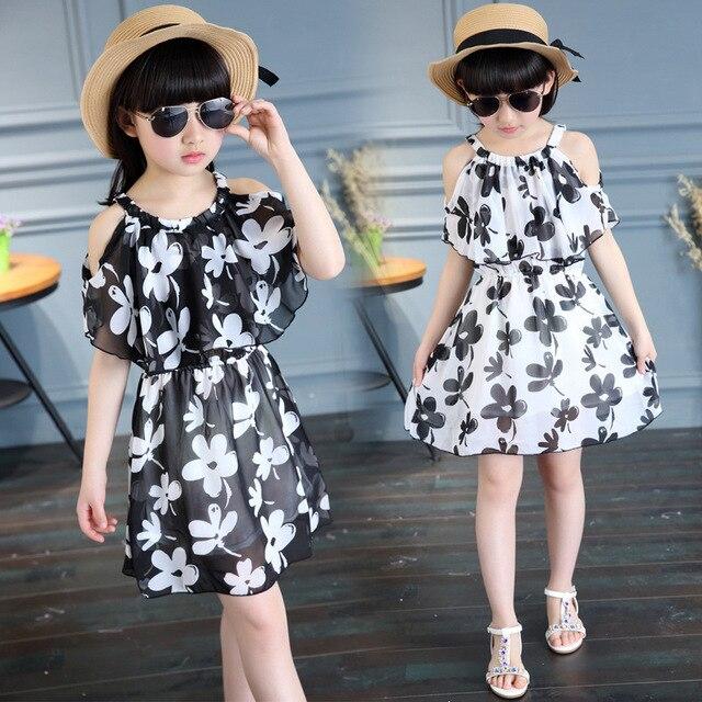 e8fb45b6e Verano niña gasa vestido casual niños ropa o-cuello Cartoon Kids Vestidos  para Niñas Fashion