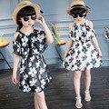 Vestido Da Menina de verão de Algodão Casual Crianças Roupas O-pescoço Dos Desenhos Animados Dos Miúdos Vestidos Para Meninas Da Moda Roupas de Bebê Para Meninas 6-12 Y