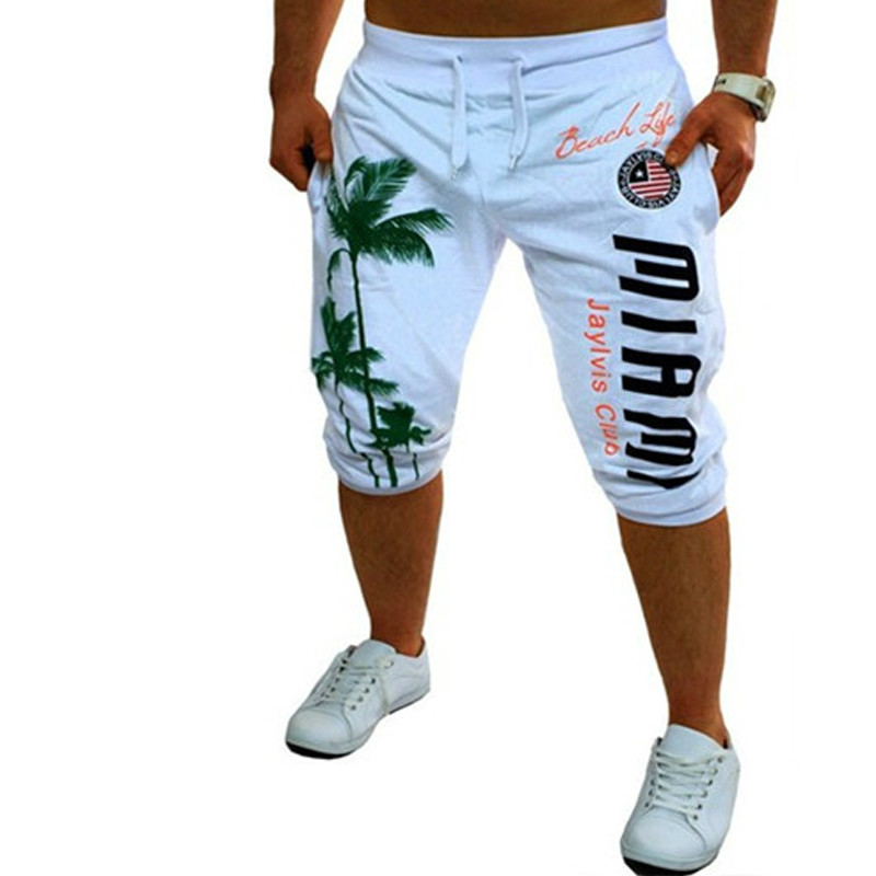 2018 Mens Shorts Casual Bermuda Brand Coconut Pattern Compression Male Cargo Shorts Men Linen Fashion Men Short Summer Linen