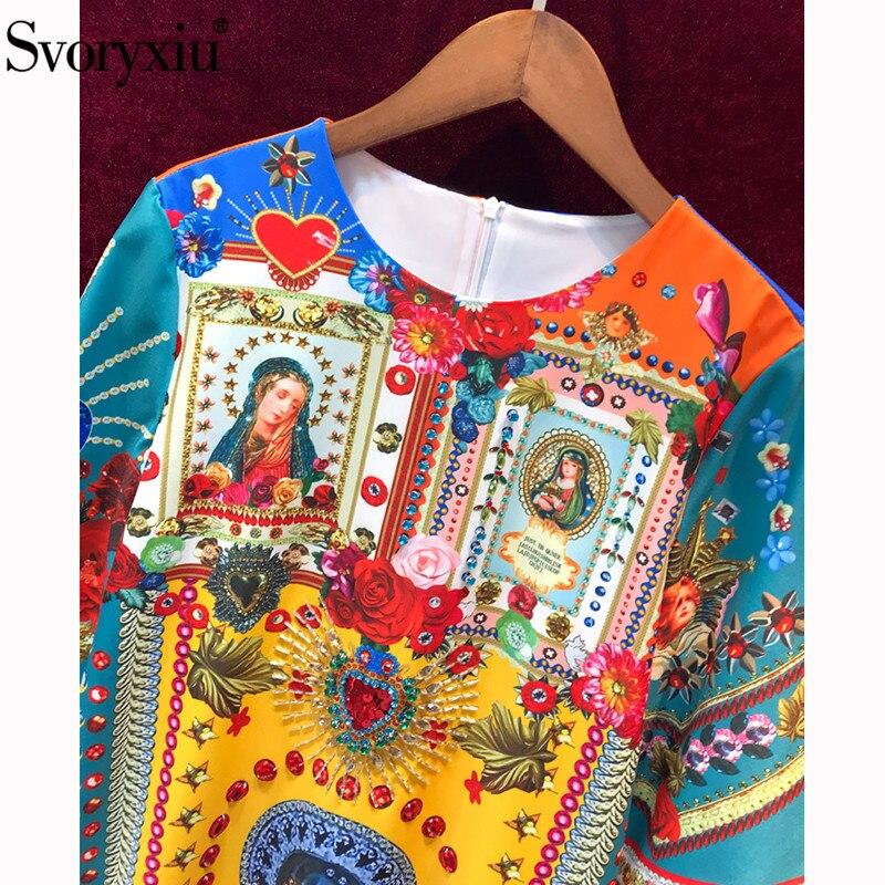 Svoryxiu Runway Sommer Vintage Madonna Blume Druck Kurzen Kleid Frauen Halbe Hülse Kristall Perlen luxus Partei Lose Kleider-in Kleider aus Damenbekleidung bei  Gruppe 3