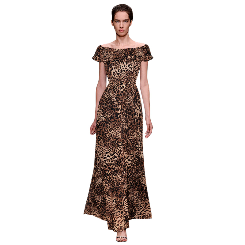 leopard print vintage chiffon dress ruffle off the shoulder maxi dress birthday clothes outfits high quality