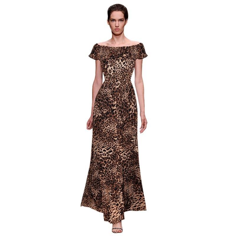Leopard print w stylu vintage szyfonowa sukienka wzburzyć off the shoulder sukienka w dużym rozmiarze urodziny ubrania stroje wysokiej jakości kobieta sukienka na imprezę w Suknie od Odzież damska na  Grupa 1