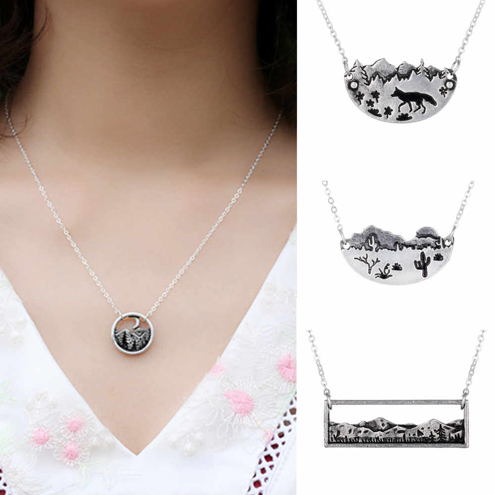 45+5cm Mountain Range Bar Necklace Adventure Wanderlust Landscape Rectangle Cactus Pendant Necklace Nature Lovers Jewelry