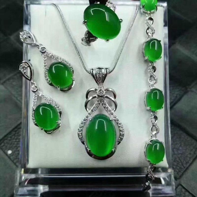 Yu Xin Yuan Fine Jewelry Natural 925 Silver Jade Medullary Ring Pendant Earrings Bracelet Jewelry Sets Women Party Jewelry