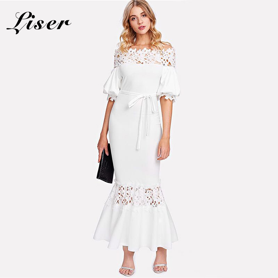 Moulante New Robe Fishtail Celebrity Blanc Bandage Écharpes Femmes 2018 Summer Robes Slash Party Cou Sexy Liser v1Tqp56WT