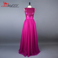 Real Photo 2017 New Arrival Hot Pink Sequins Tulle Long Cheap Elegant Western Country Evening Prom