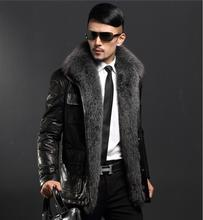 High quality Fox collars Men Genuine Leather Down jacket sheepskin long fur Men's Winter Coat Plus Size 6XL EMS/DHL Freeshipping
