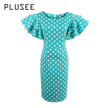 Plusee Dress Size 2XL Women Bodycon Short Sleeve Petal Pullover Dot Knee-Length Girls Fashion