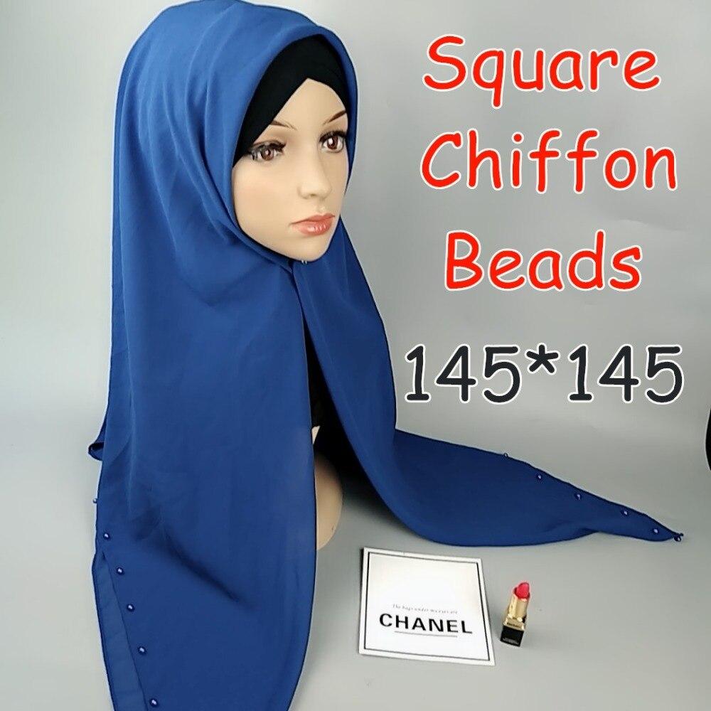F6 High quality 145cm square chiffon with bead hijab shawls women   scarf     scarves     wrap   headband