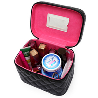 Women Professional Cosmetic Bag Lovely Casual Hand Held Travel Makeup Box Leather High End Storage Bag