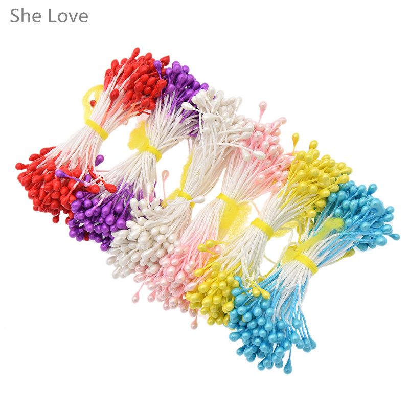 She love 500pcs plain double headed flower stamens making for Dried flowers craft supplies