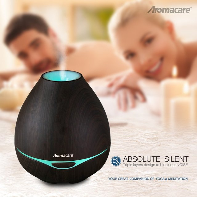 400ml Dark & Light Wood Grain Ultrasonic Essential Oil Aroma Diffuser, Aromacare Mist Maker with Colorful Changing Light – FREE SHIPPING