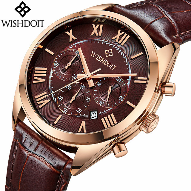 2017 Luxury Brand WISHDIOT Fashion Leather Strap Multifunction Watches Men Quartz Clock Waterproof Wristwatch Relogio Masculino skmei men s quartz watch fashion watches leather strap 3bar waterproof luxury brand wristwatches clock relogio masculino 9106