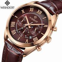 2019 Luxury ยี่ห้อ WISHDIOT แฟชั่นหนังนาฬิกาผู้ชายนาฬิกาควอตซ์กันน้ำนาฬิกาข้อมือ Relogio Masculino