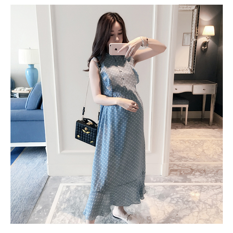 2018 Summer Maternity Breast Feeding Dresses Clothes Pregnant Women Nursing Dress Pregnancy Long Nurse Wear Lactation Clothing