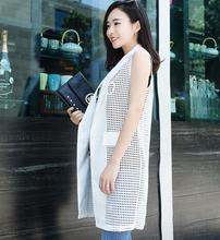 office lady Elegant jackets Vest For Women Sleeveless Long Outerwear Casual coats v neck double breast long business suit vest