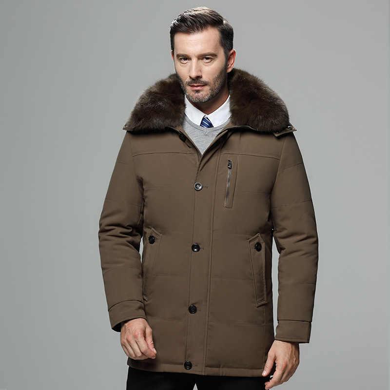 2018 nuevo abrigo de plumón de invierno de moda Chaqueta larga Parka gruesa 80% plumón de pato Cuello de piel de mapache-30C envío Gratis