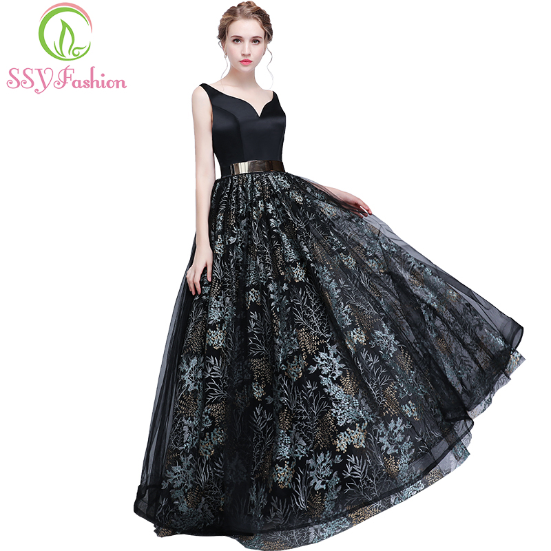 SSYFashion Sexy Black   Prom     Dress   The Bride Banquet Backless V-neck Lace Flower Floor-length Sleeveless Evening Party Formal Gown