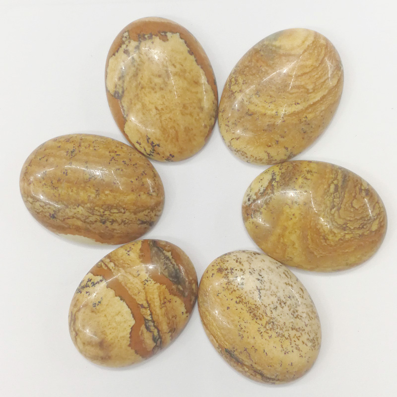 Wholesale 30x40mm fashion natural picture stone beads Oval CAB CABOCHON teardrop stone beads 10pcs/lot Free shipping