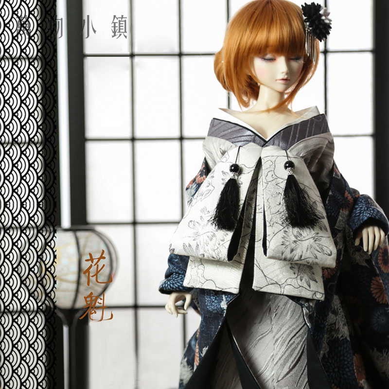 Retro Japanese Style Gray Daisy Kimono 1/3 1/4 uncle Boy SD MSD BJD Doll Clothes accept custom european style black leather suit bjd uncle 1 3 sd ssdf doll clothes