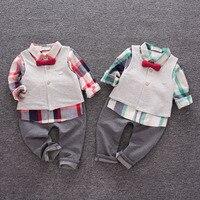 Autumn baby boys long sleeve plaid bow shirts vest trousers 3pcs set fashion children's casual clothing gentleman outwear17J701