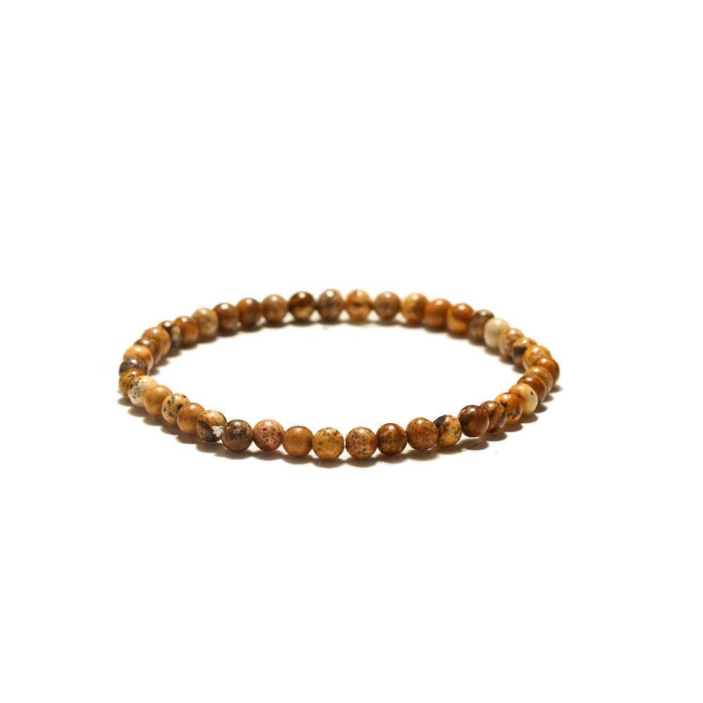 """מינימליסטי 4 מ""""מ טבעי אבן חרוזים צמיד קסמי פשוט קטן חרוזים Braslet לגברים נשים יוגה תכשיטי Pulseras Hombre"""