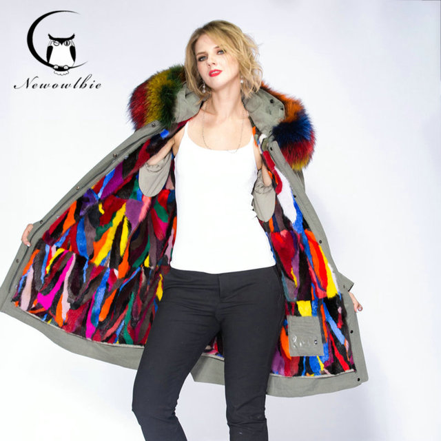 2019 long winter jacket women Colorful  raccoon natural real fur collar coat hooded real warm mink fur liner