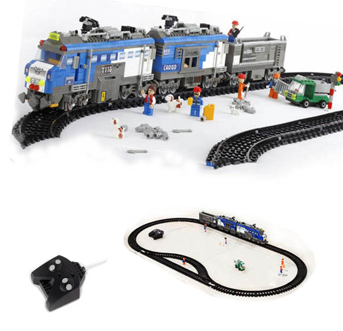 Remote Control toys Freight Train Building Block Sets 1275pcs RC Transport Model Building Block Educational Bricks Toys for Kids