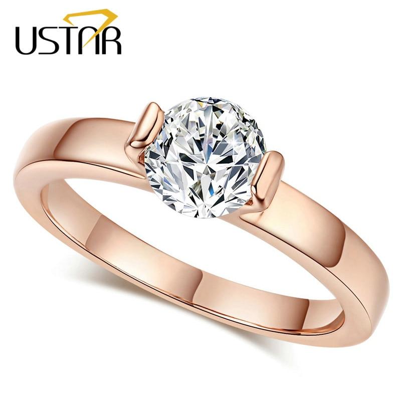 USTAR Classic 1ct Cubic Zirconia anillos de boda para las mujeres de color oro rosa cristales anillos de compromiso mujer Anel de calidad superior