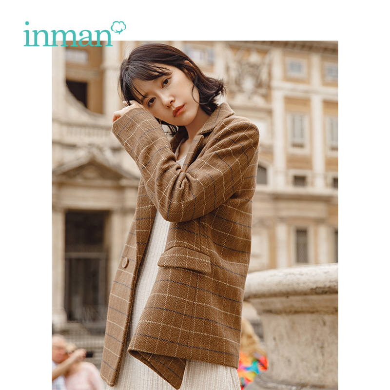 INMAN New Arrival Turn Down Collar Plaid Pattern Women Fashion Double Breast Button Short Wool Coat