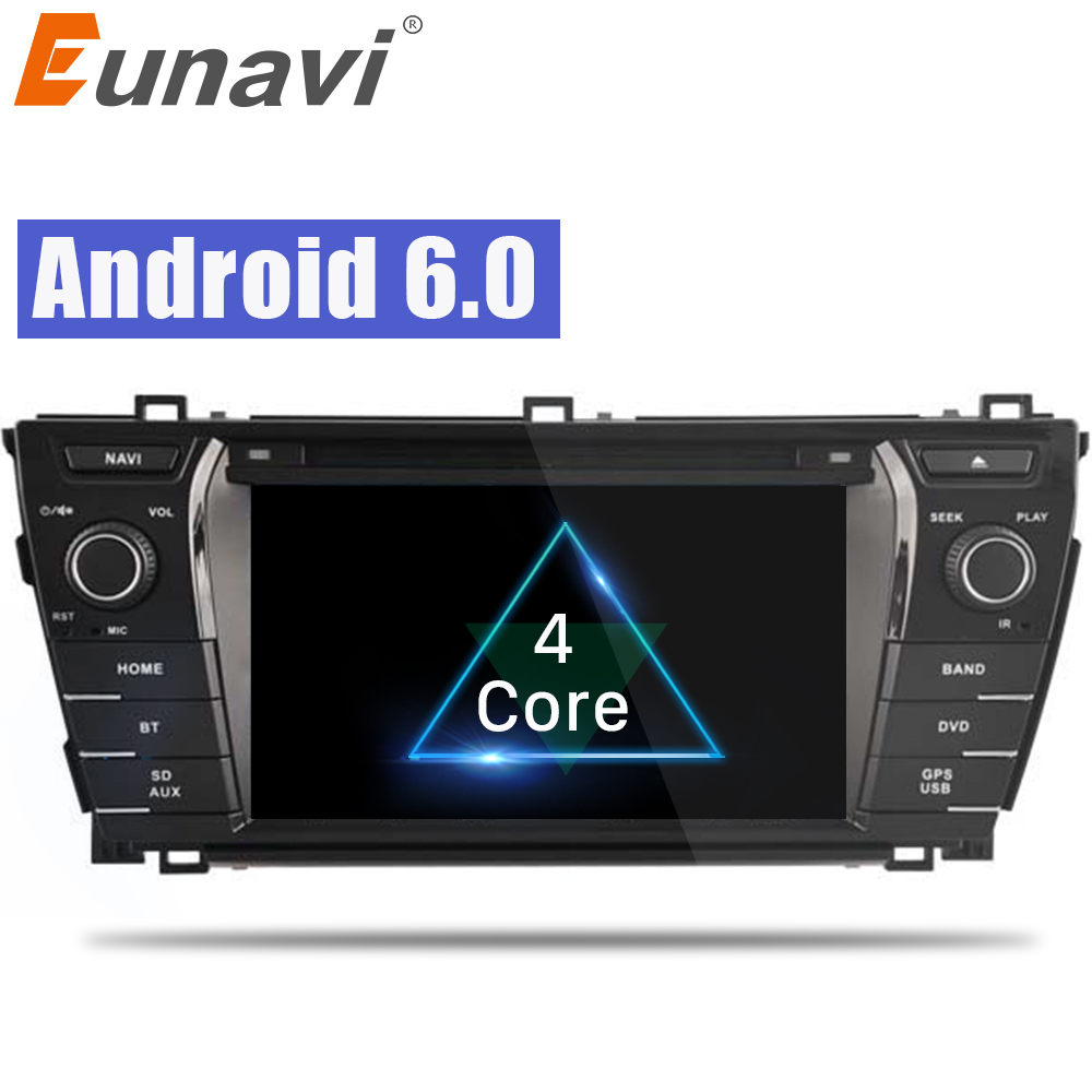 Eunavi 7 inch Android 6.0 Car Radio DDR3 2G /4G LTE Quad Core 2din Car DVD GPS Navigation Head Unit For Toyota Corolla 2014 leewa 7 android 6 0 64bit ddr3 2g 32g 4g lte octa core car dvd gps radio head unit for ford transit connect tourneo connect