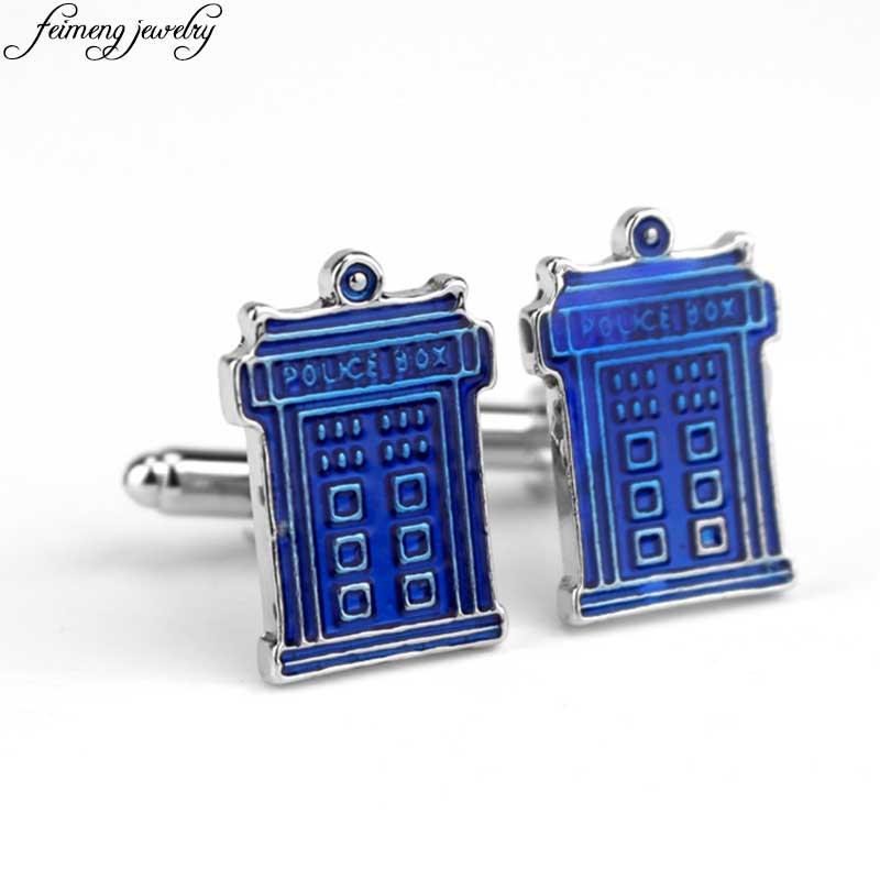 Doctor Who Police Box Cufflinks Fashion Male French Shirt Cuff Links Blue Enamel Alloy Cuff button Mens Charm Jewelry Accessory