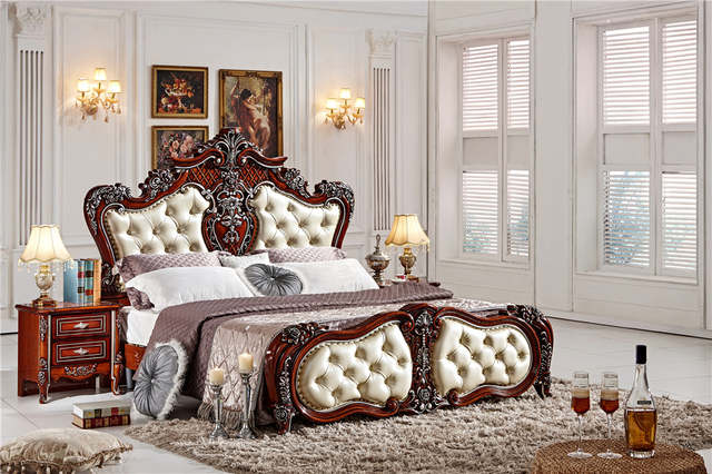 US $850.0  European double bed design wooden box bed 0409 F102-in Beds from  Furniture on AliExpress