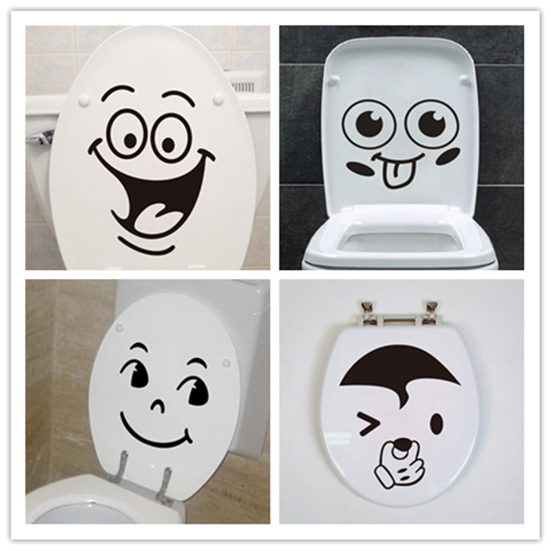 6 design Cute Funny Smile Face bathroom wash room Toilet Art Home decor wall stickers Shop Office Toilet Decoration